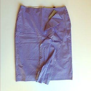 JCrew blue & white gingham ruffle front skirt NWT